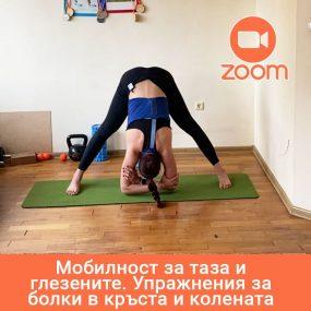 Мобилност за таза и глезените. Упражнения за болки в кръста и колената – Online в ZOOM – 15.01.2021; 18:30ч.
